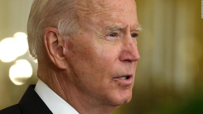 President Joe Biden, listens as he is joined virtually by Australian Prime Minister Scott Morrison and British Prime Minister Boris Johnson, to speak about a national security initiative from the East Room of the White House in Washington, Wednesday, Sept. 15, 2021.
