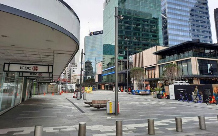 A deserted central Auckland in the midst of the August 2021 lockdown.