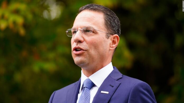 Pennsylvania Attorney General Josh Shapiro speaks with members of the media after a news conference at Marsh Creek State Park in Downingtown, Pa., Tuesday, Oct. 5, 2021.