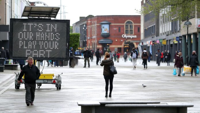 An electronic notice board in Bolton town centre